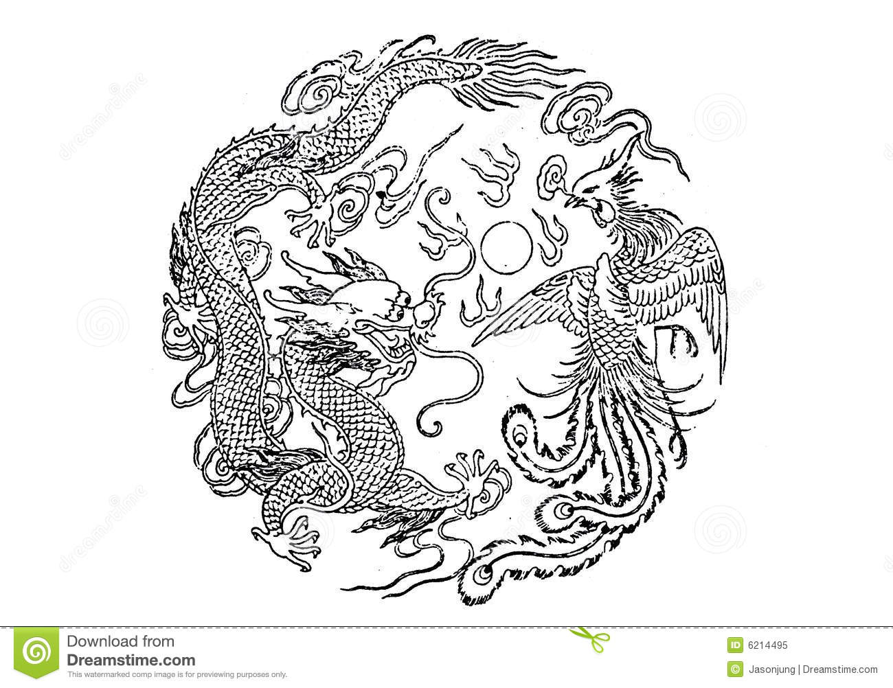 dragon and phoenix royalty free stock photo image 6214495
