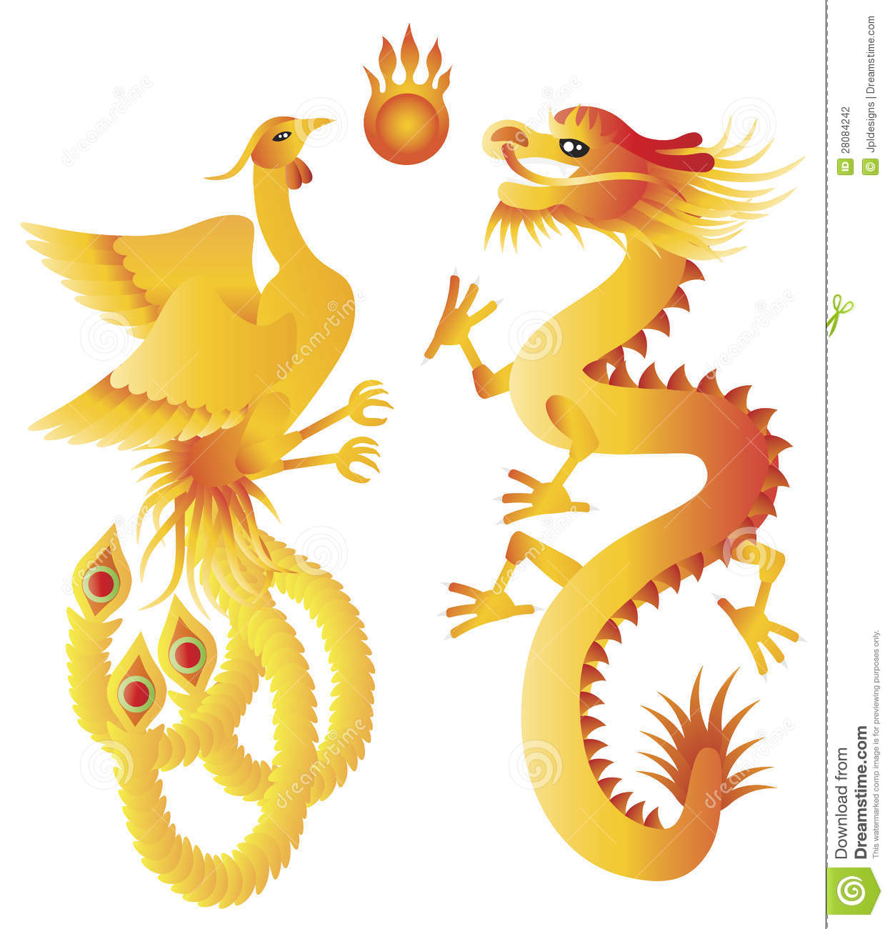 Dragon and phoenix chinese symbols illustration stock vector dragon and phoenix chinese symbols illustration biocorpaavc