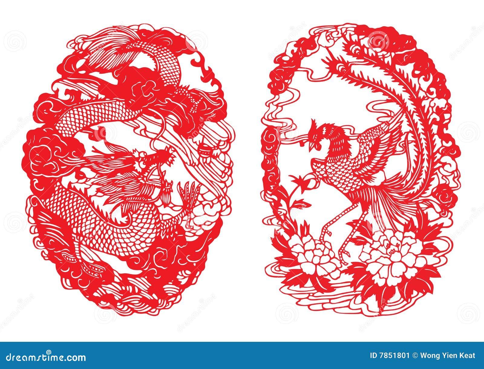 Dragon & Phoenix Paper-cut