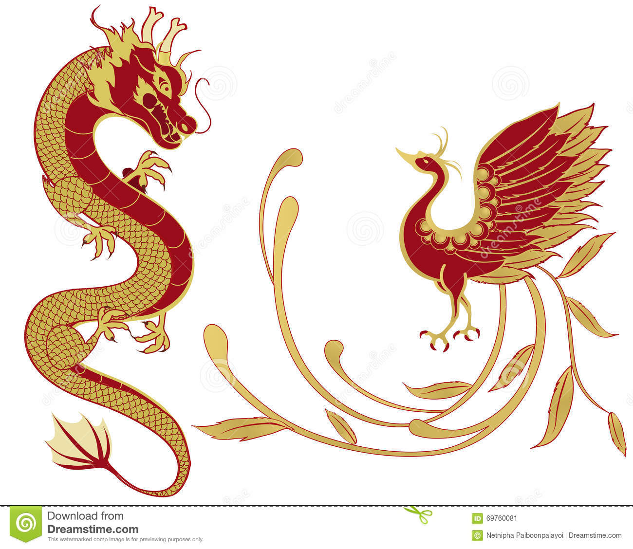 Chinese Dragon And Phoenix Cartoon Vector | CartoonDealer.com #13137779