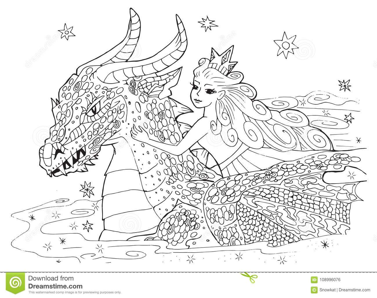 The Dragon And The Princess Stock Vector Illustration Of Feast Background 108996076