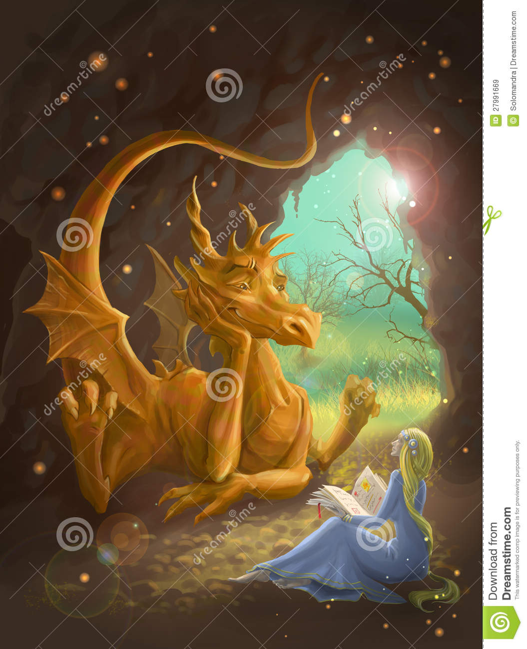 Dragon And Princess Reading A Book Royalty Free Stock