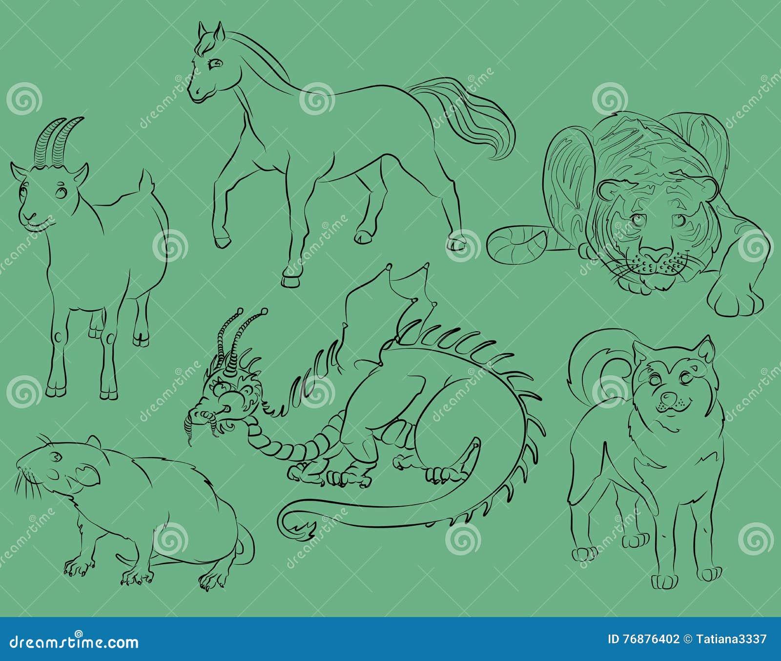 Dragon, Rat, Goat, Tiger, Horse And Dog Stock Vector