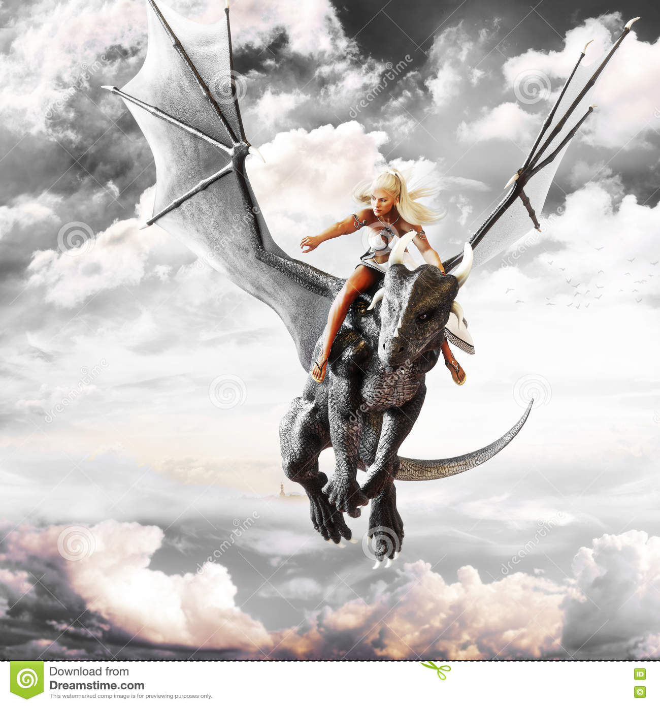 Dragon rider, Blonde female riding the back of a black flying dragon.
