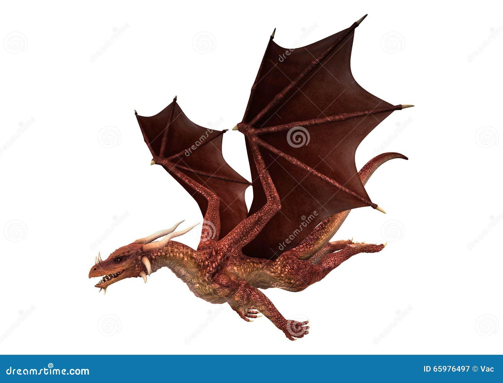 Dragon rouge sur le blanc