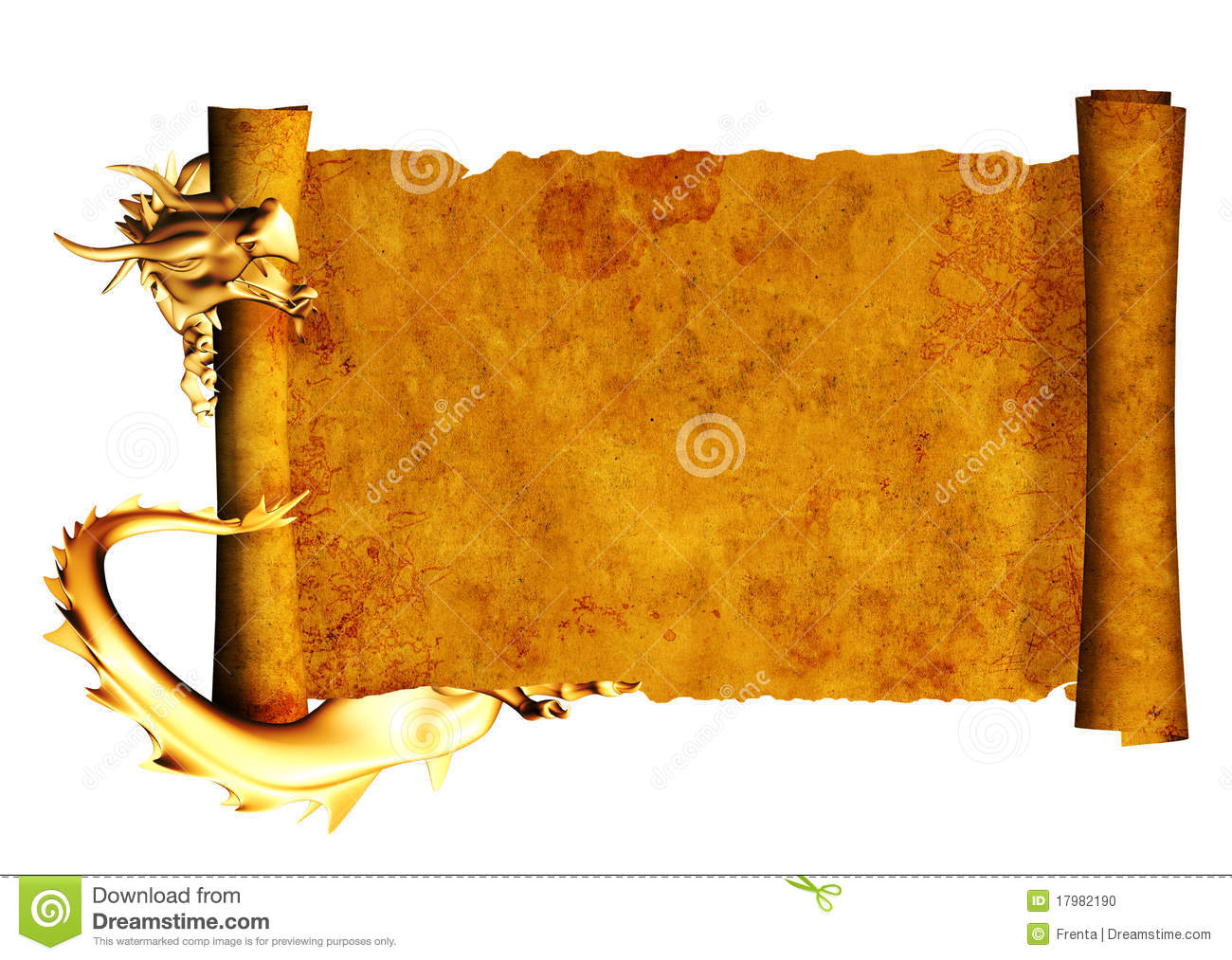 Dragon And Scroll Of Old Parchment Stock Photo - Image: 17982190