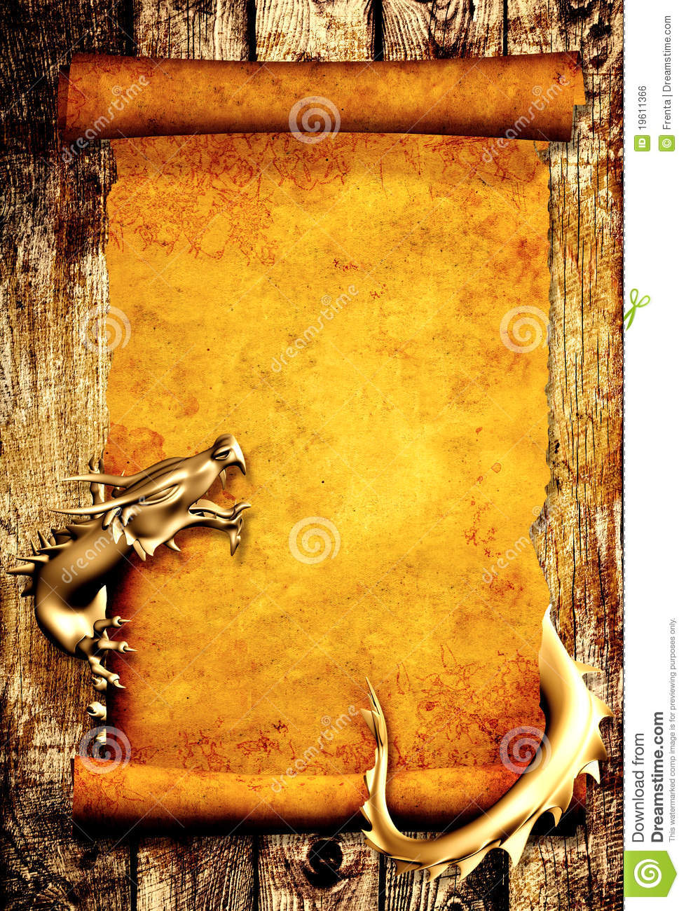 3d Scroll Of Parchment Photo: Dragon And Scroll Of Old Parchment Royalty Free Stock