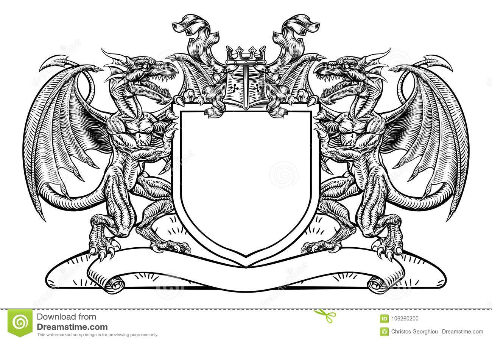 Dragon Shield Heraldic Crest Coat Of Arms Emblem Stock Vector Illustration Of Crown Crest 106260200