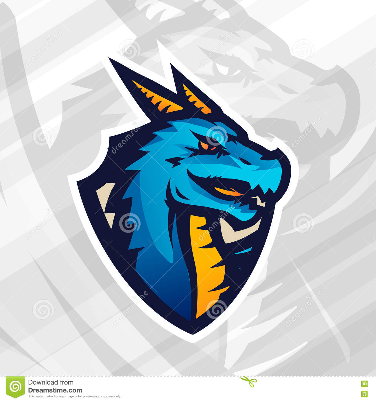 Dragon On Shield Sport Mascot Template Football Or Baseball Patch