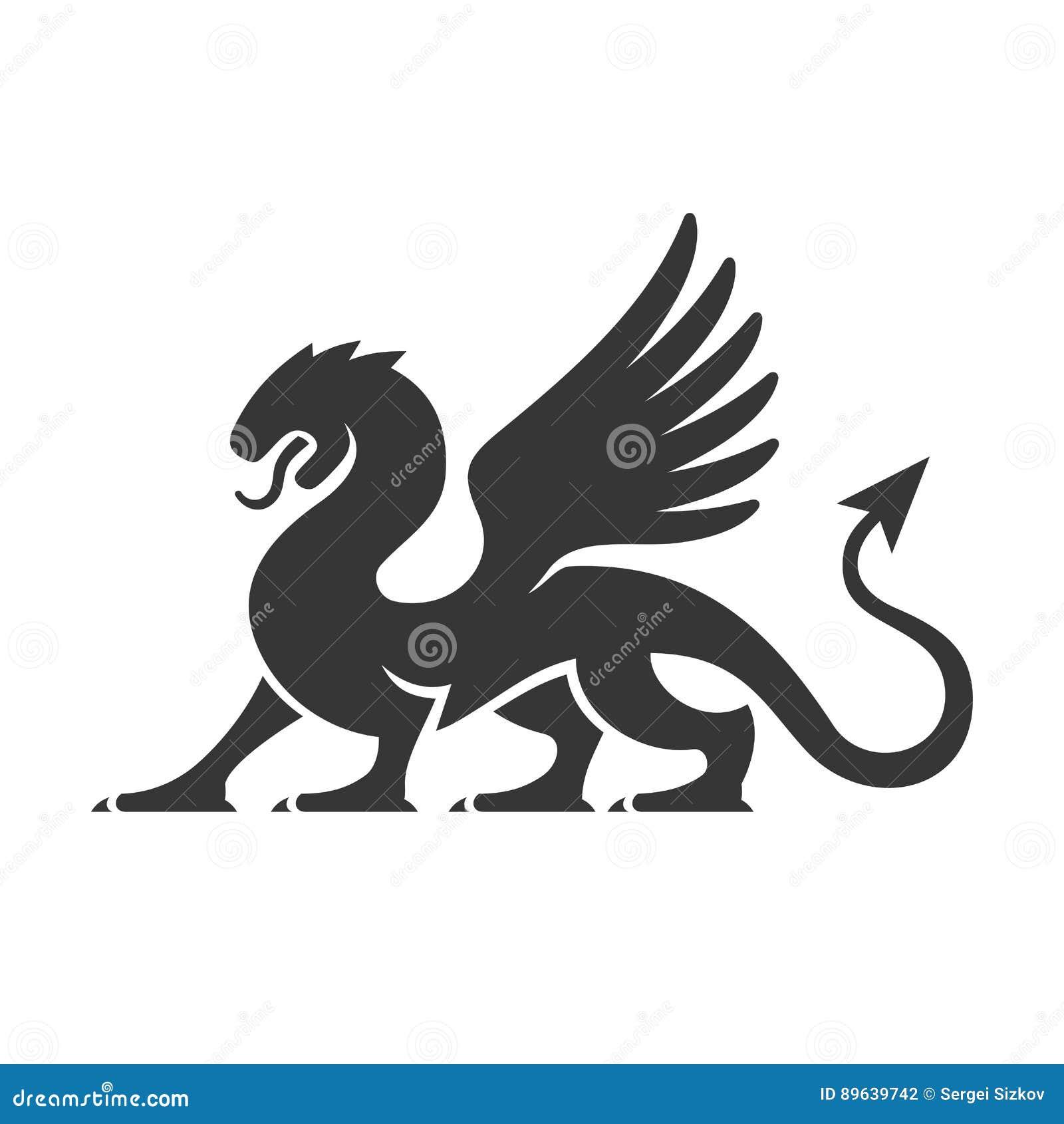 Dragon Silhouette Logo heráldico Vetor