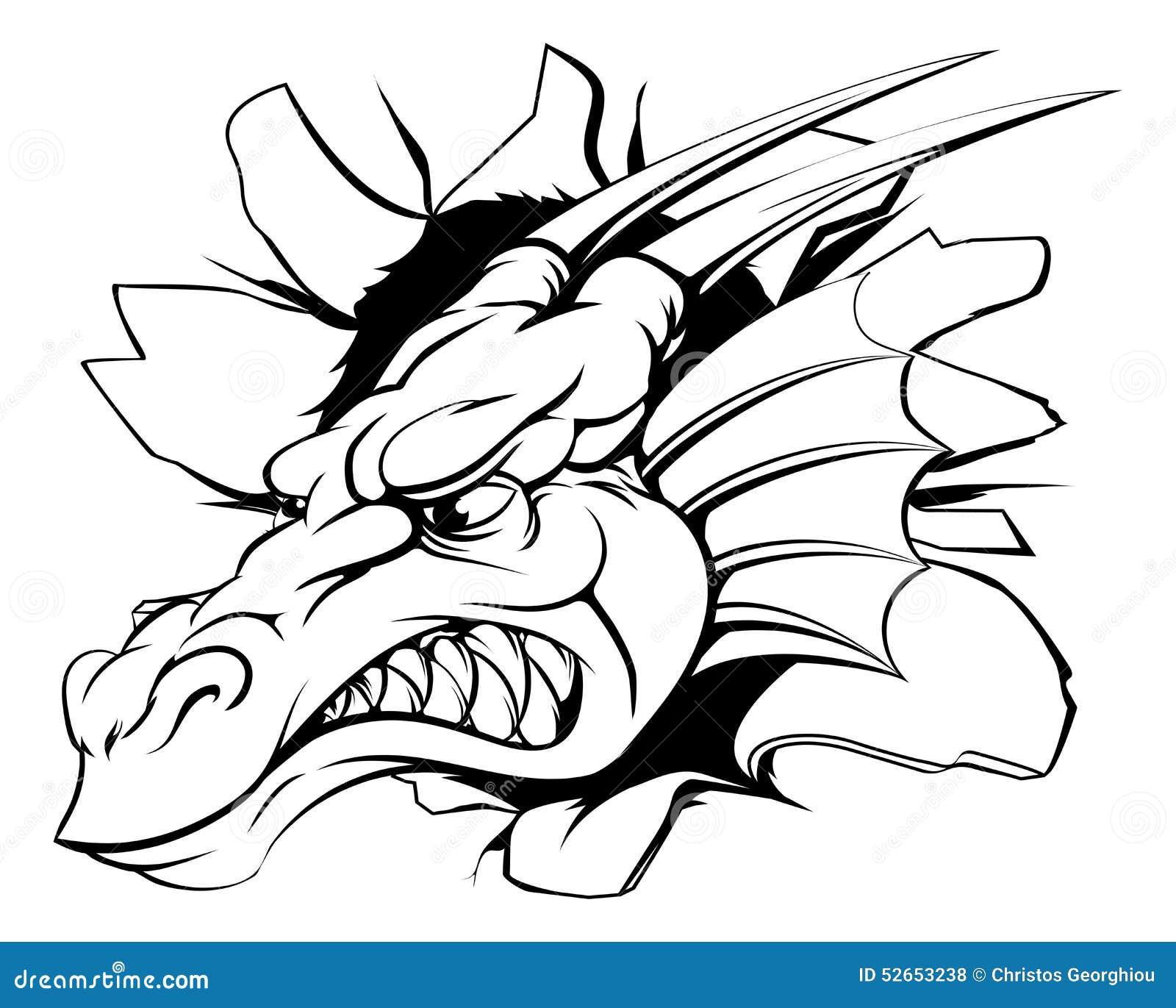 Dragon smashing out stock vector image of mythology 52653238 - Dessin de tete de dragon ...