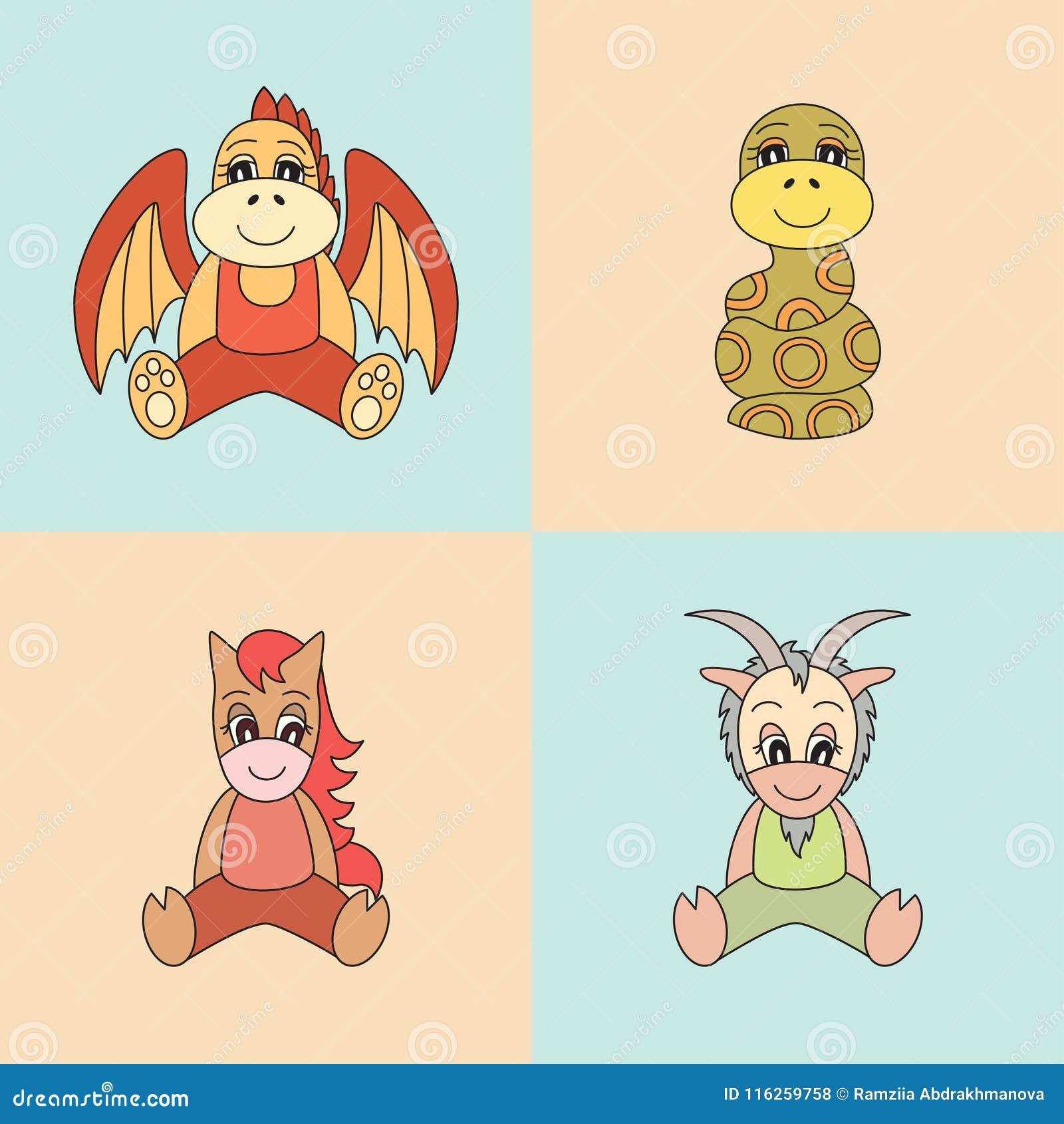 Dragon Snake Horse Goat Vector Symbols Chinese Horoscope Stock