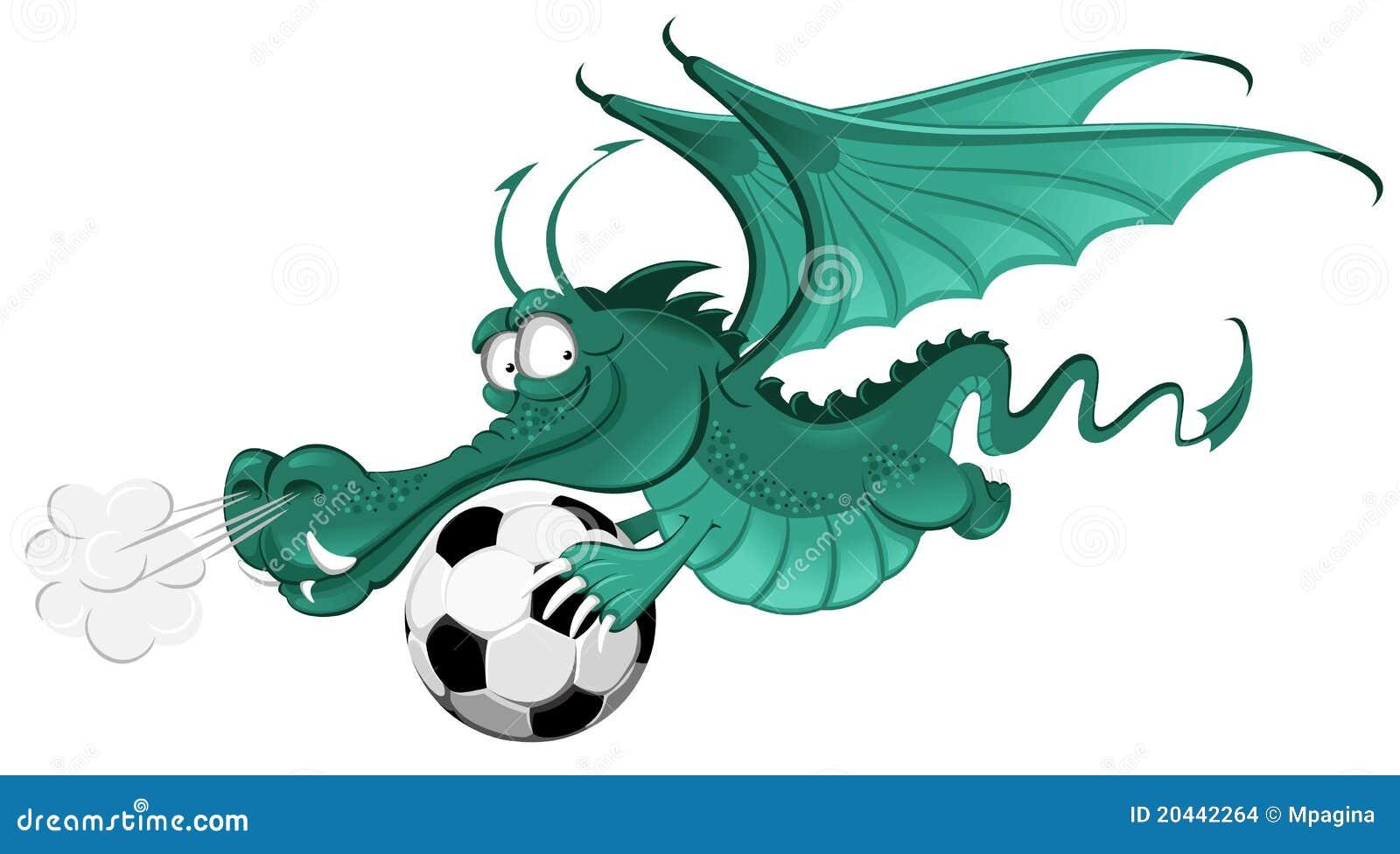 Dragon And Soccer Ball Stock Vector. Image Of Magic
