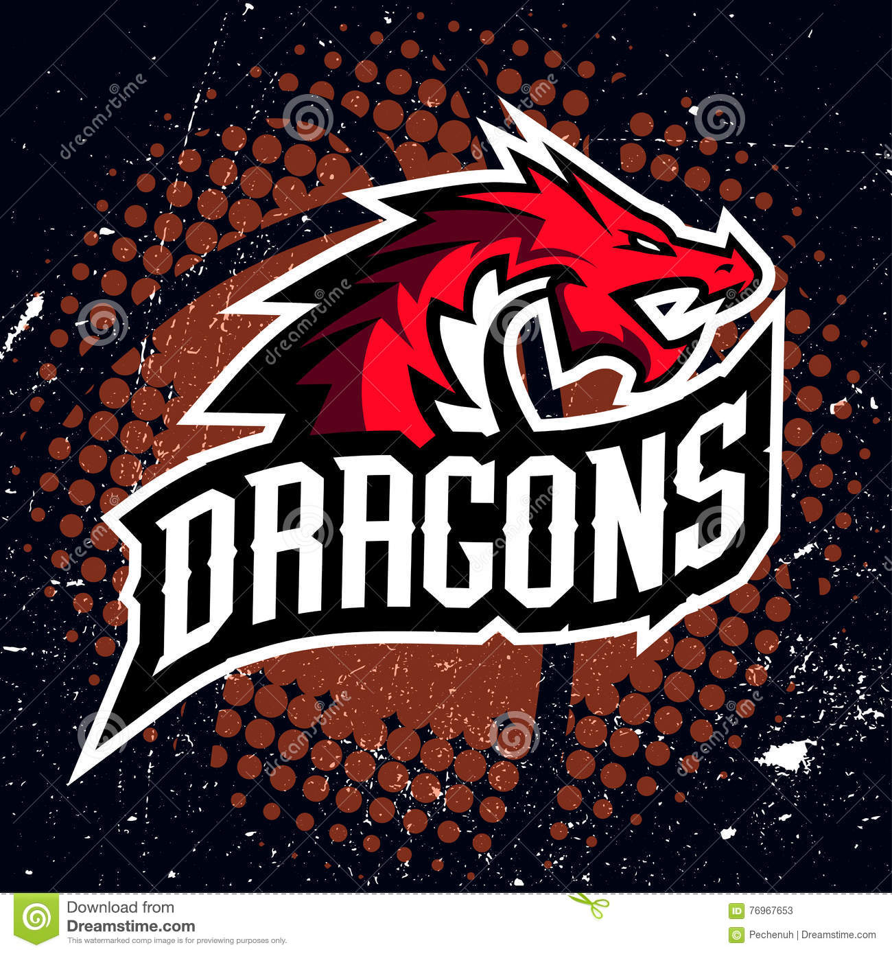 dragon sport logo basketball design stock illustration