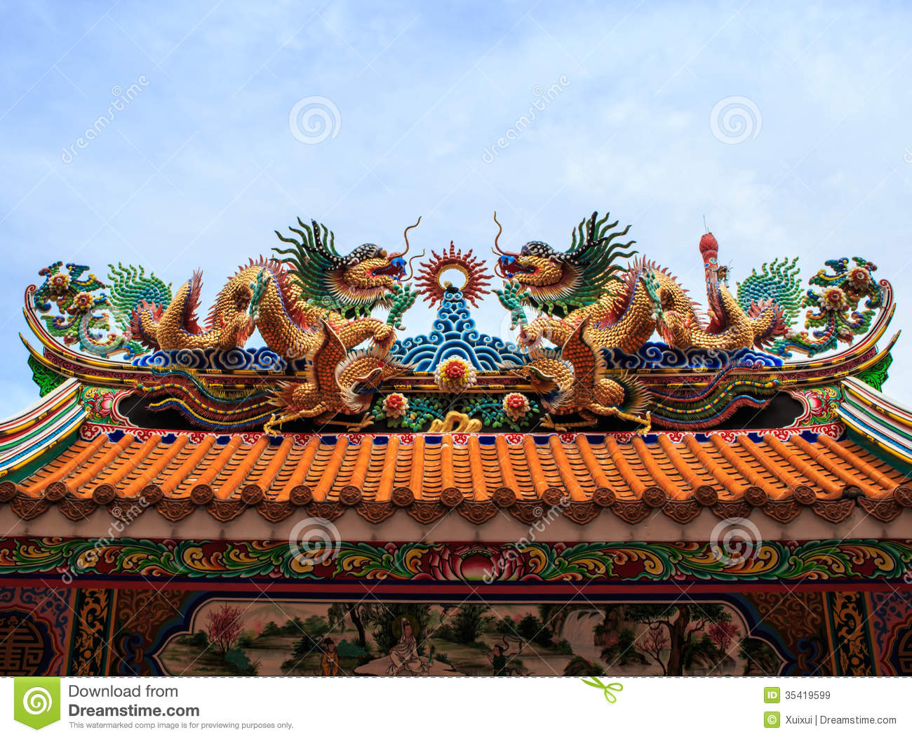 blue chinese dragon roof ... & Dragon Statue Chinese Temple Roof Royalty Free Stock Images ... memphite.com