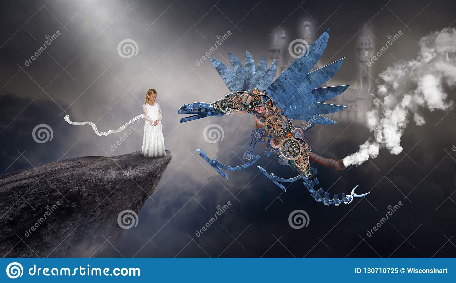 Dragon surréaliste de Steampunk, imagination, imagination, jeune fille