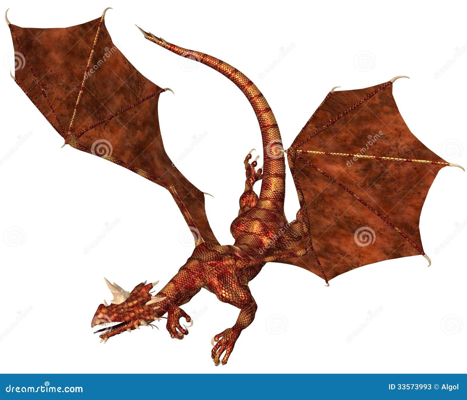 Dragon Swooping escalado vermelho a atacar