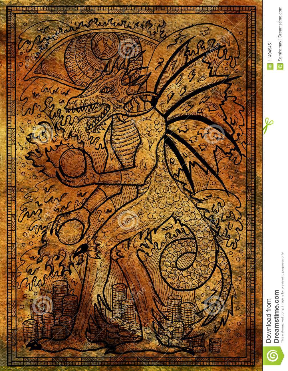 Dragon Symbol On Antique Texture Background Monster With Demon