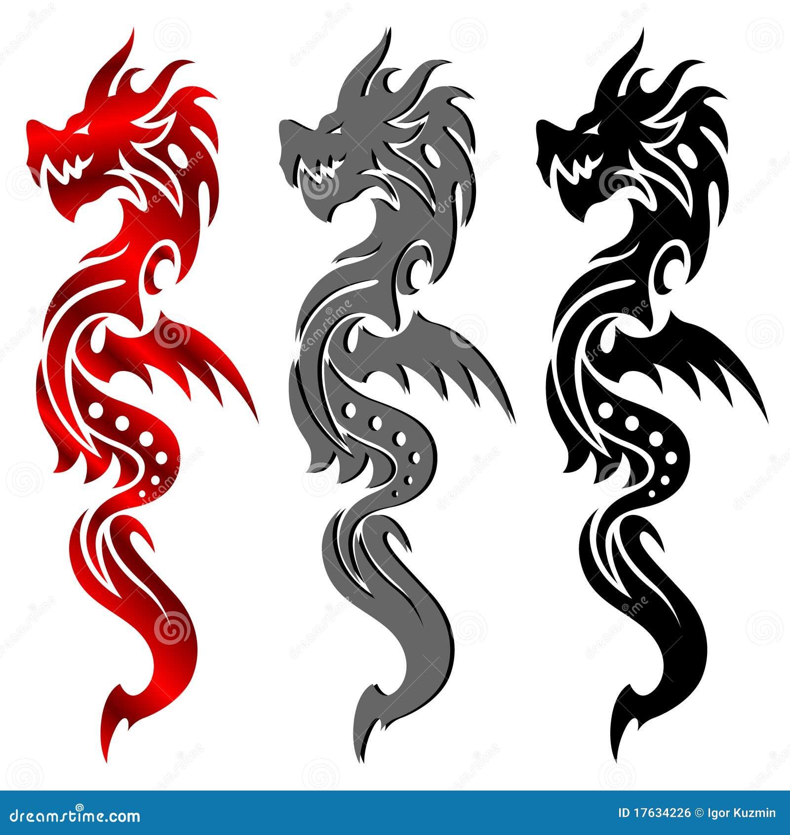 dragon tatouage tribal illustration de vecteur. Black Bedroom Furniture Sets. Home Design Ideas