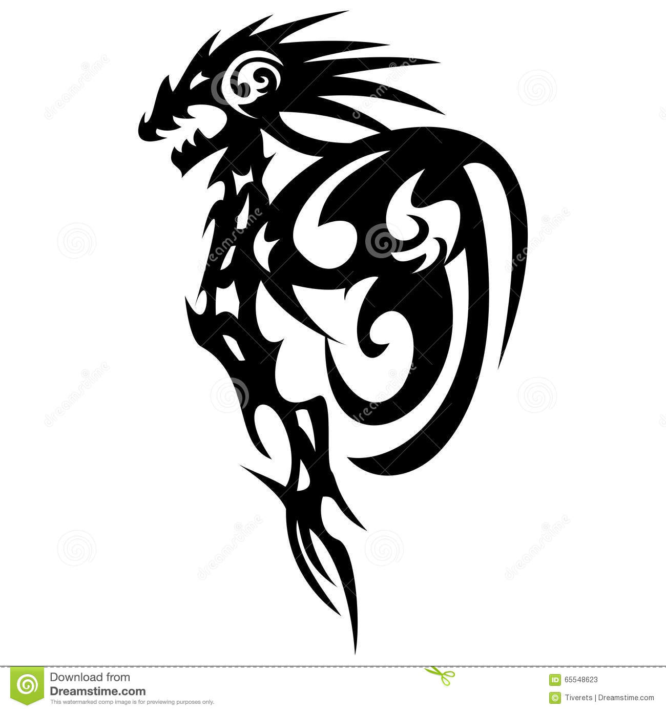 Tattoo Designs White Background: Dragon Tattoo Design, Vintage Illustration. Stock Vector