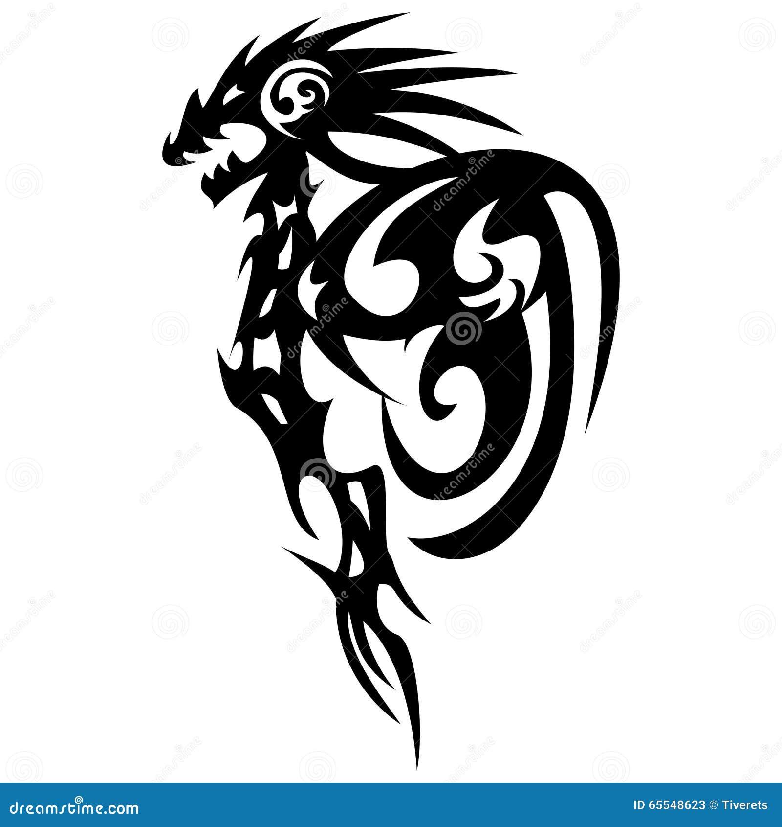 Dragon Tattoo Design, Vintage Illustration. Stock Vector