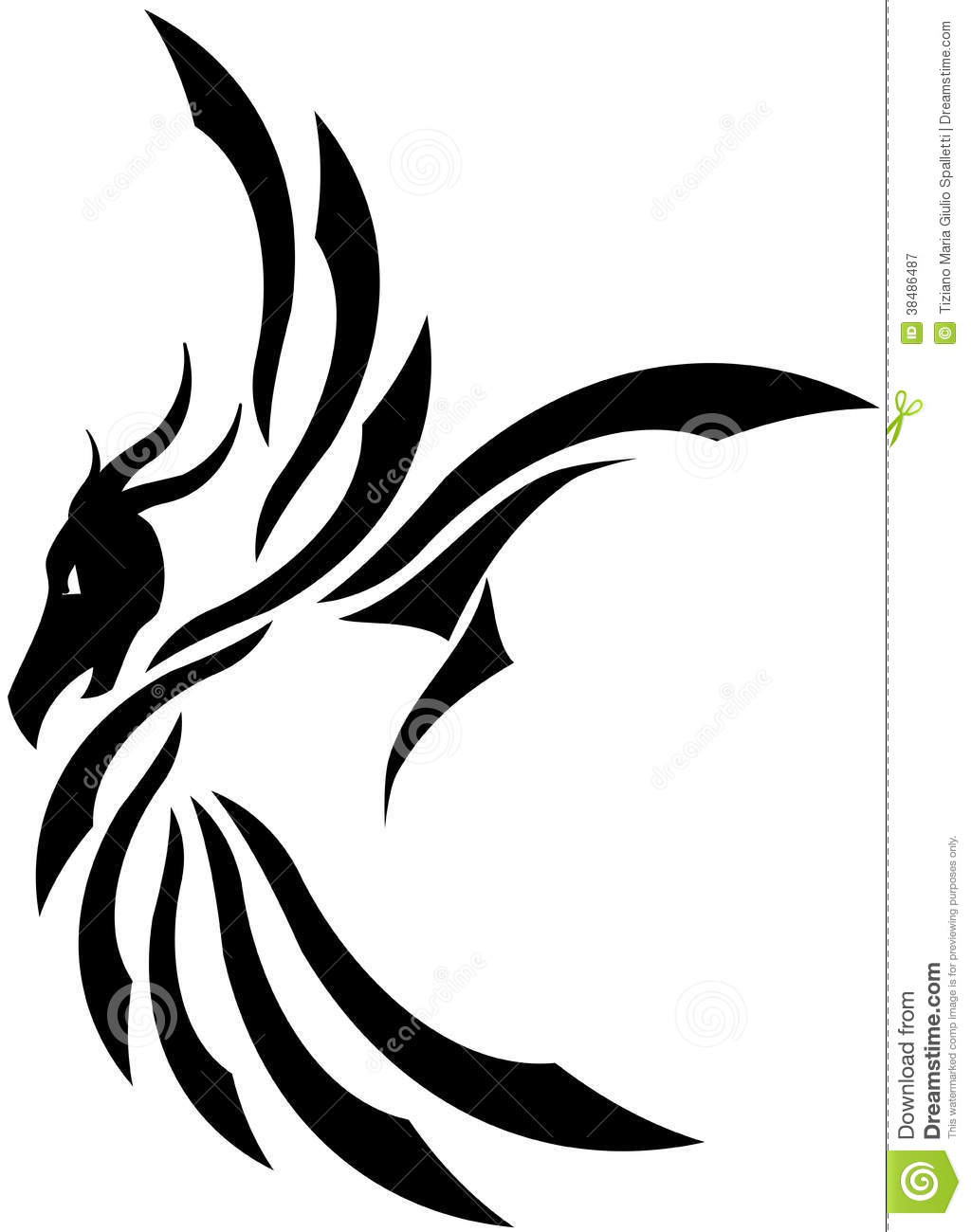 stylized dragon tattoo in black isolated royalty free