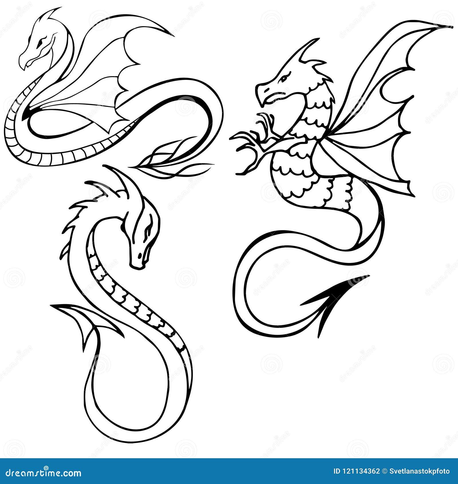 dragon tattoo tribal dragon set three dragons black and white