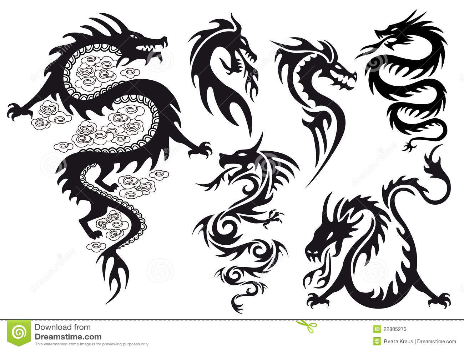 Dragon tattoo, vector