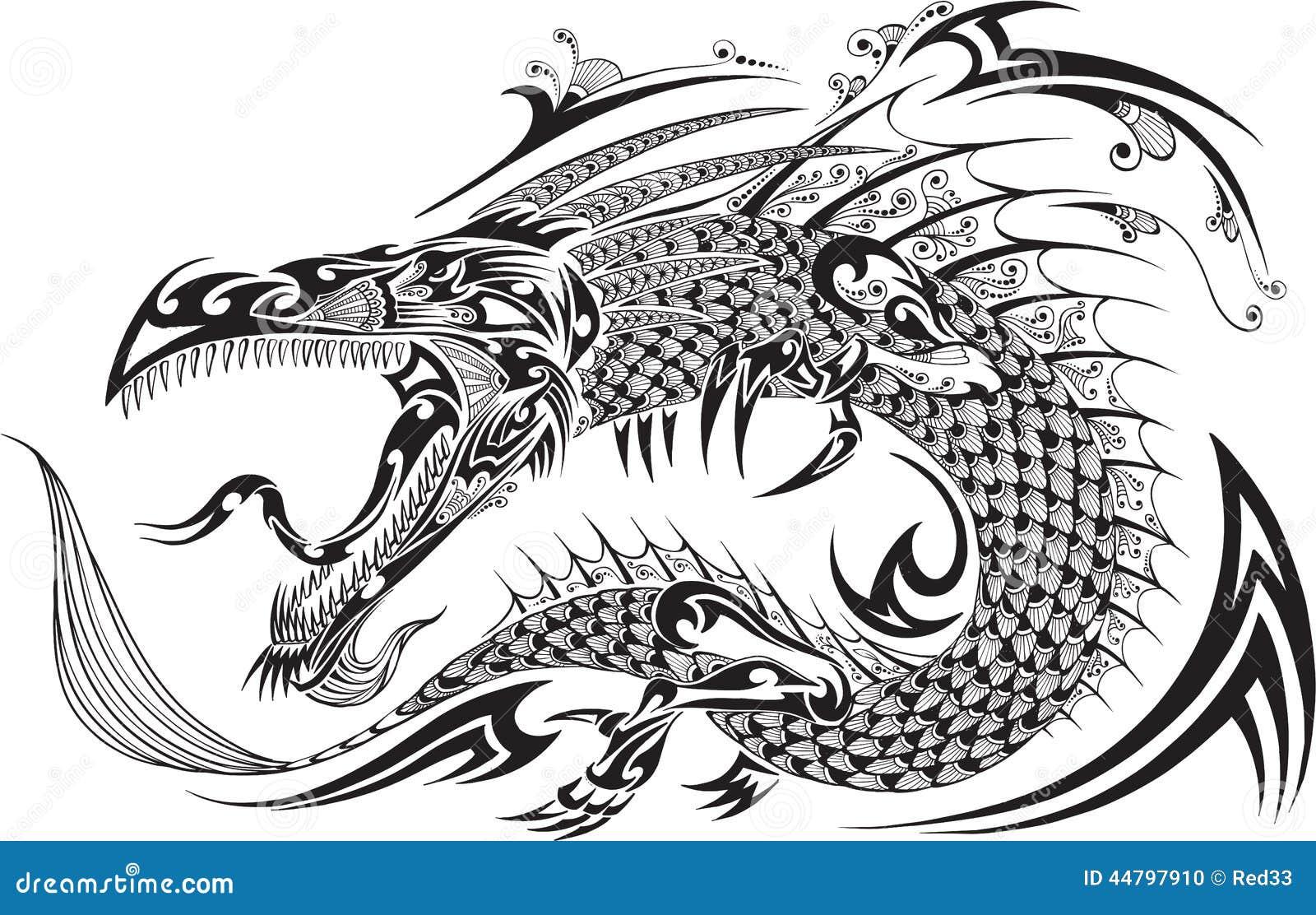 Dragon Tattoo Vector Vector Illustratie Illustratie