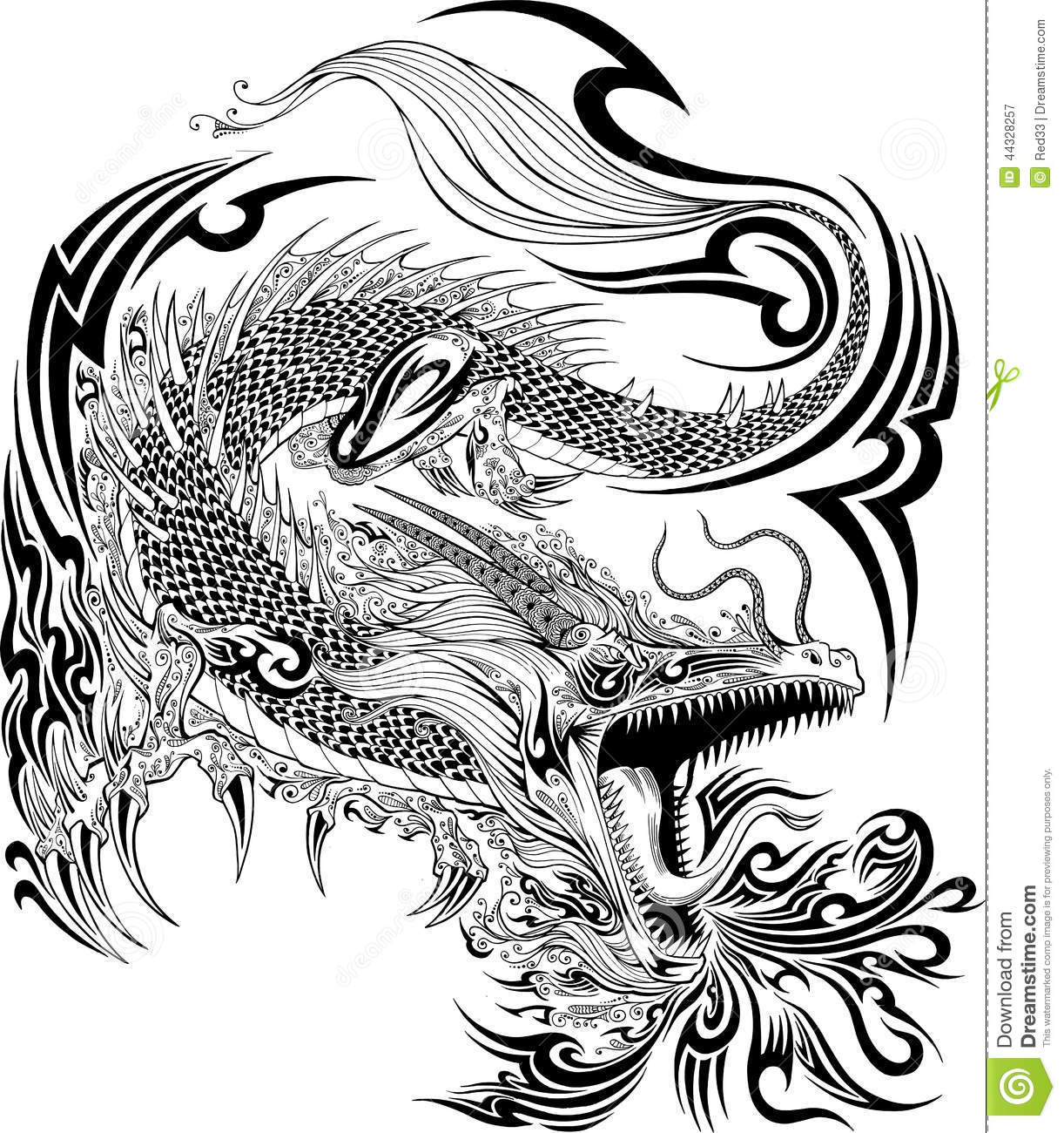 Dragon Tattoo Vector Stock Vector Image 44328257