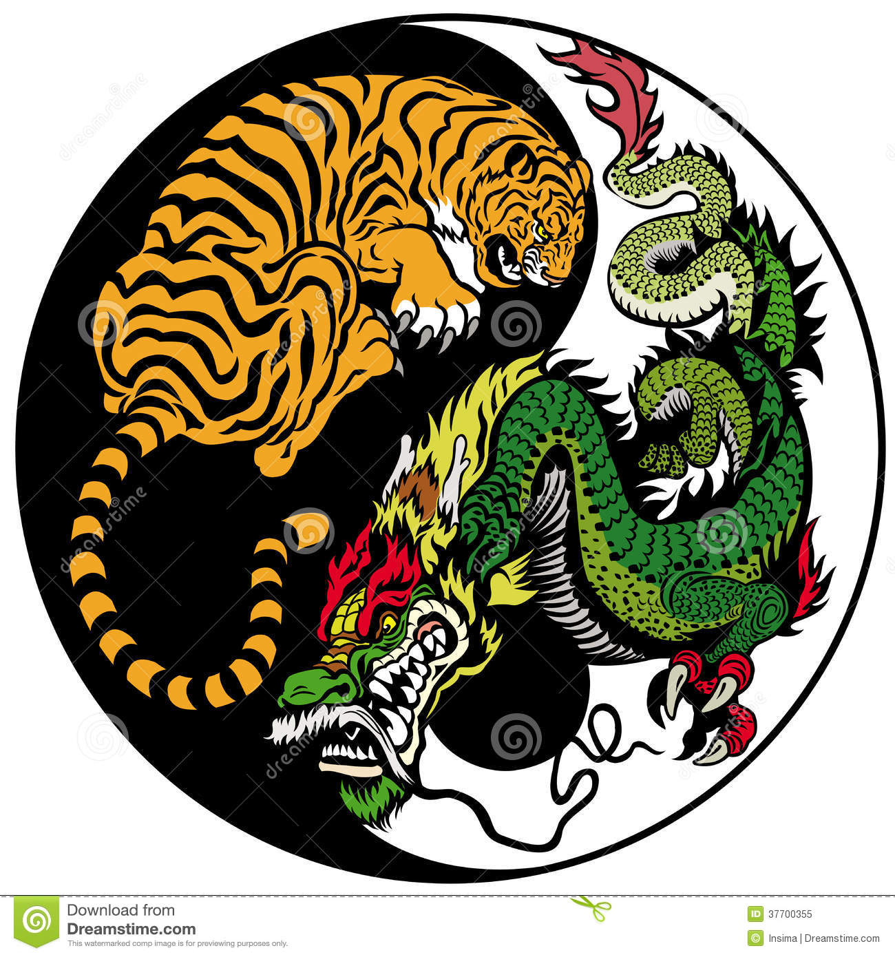 Dragon And Tiger Yin Yang Stock Vector Illustration Of Force 37700355