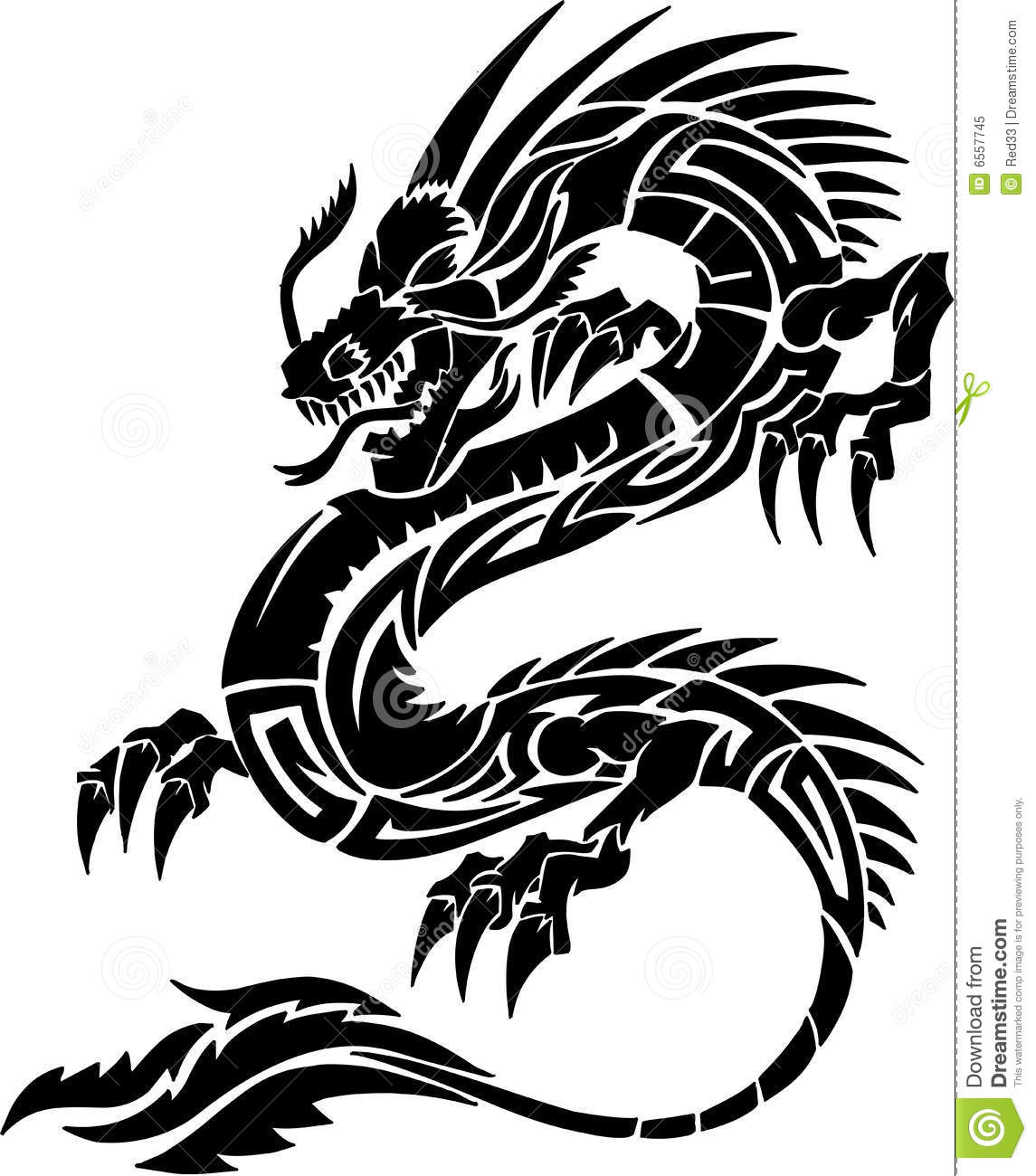 Illustration tribale de vecteur de dragon de tatouage