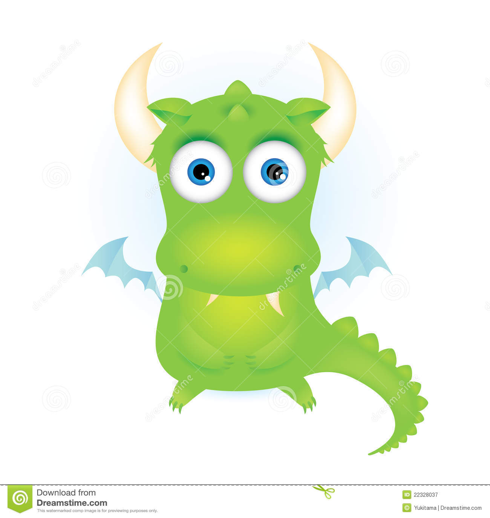Dragon vert mignon de dessin animé