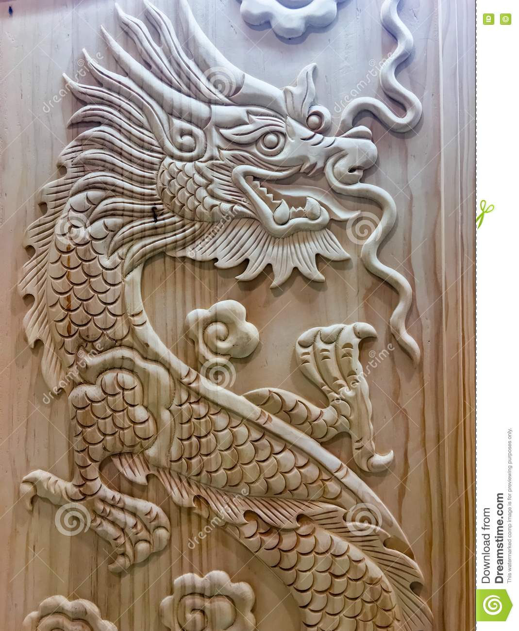 Dragon wooden carving wood Chinese year new sign symbols religion powers leader