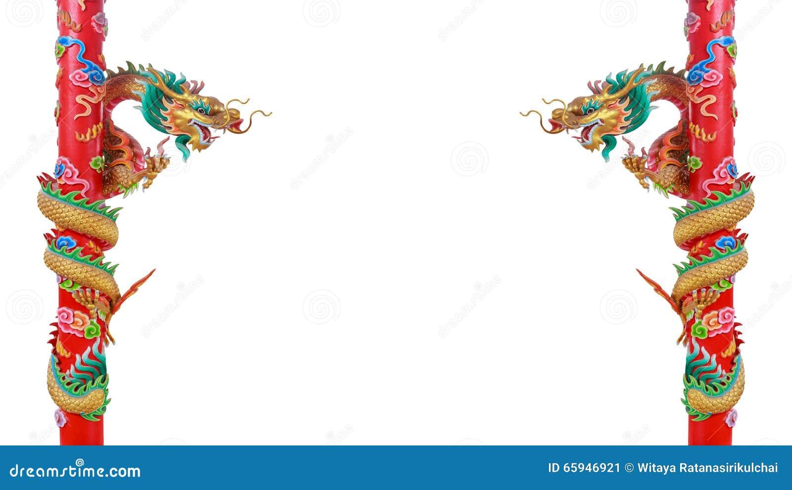 Dragones Chinos De Oro Gemelos En Los Polos Rojos Imagen de archivo ...