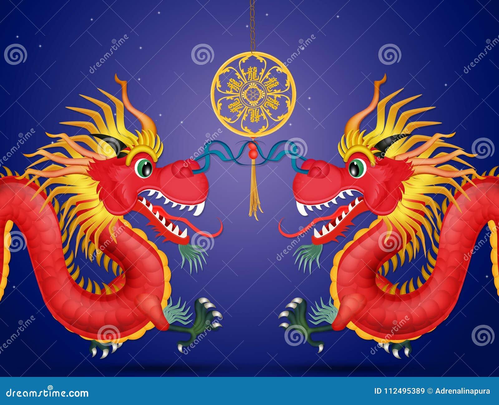 Dragones Chinos Del Año Nuevo Stock De Ilustración Ilustración De