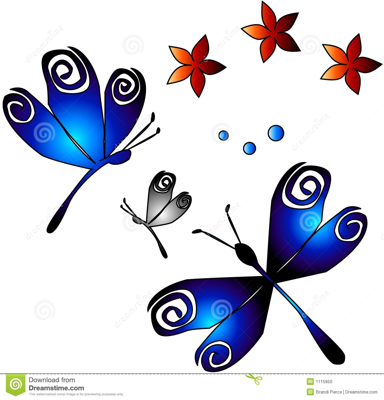 Dragonflies & Flowers stock vector. Illustration of ...
