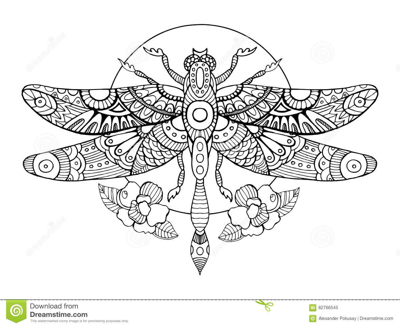 Dragonfly Coloring Book For Adults Vector Stock Vector