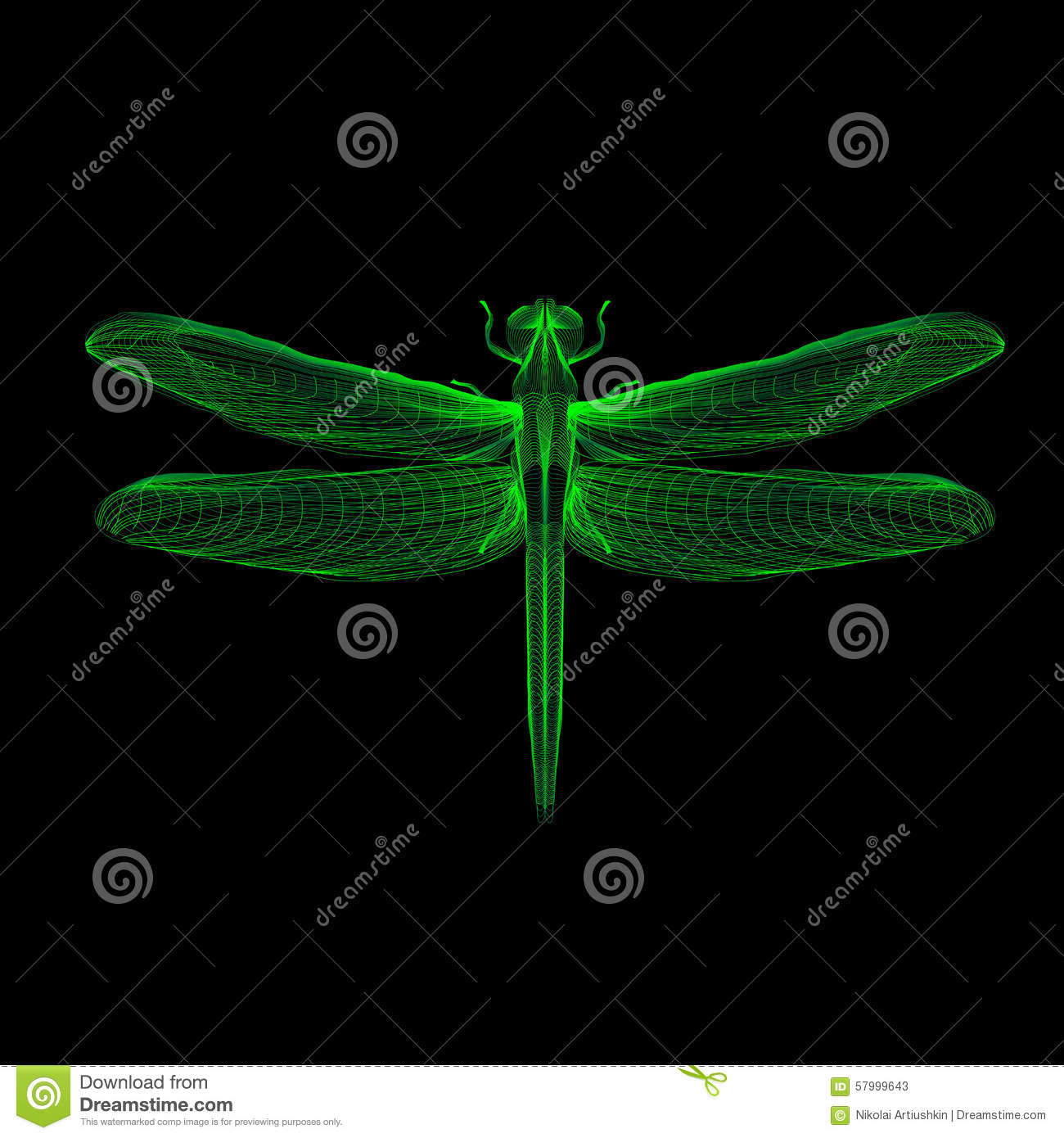 dragonfly 3d style vector illustration for print stock vector