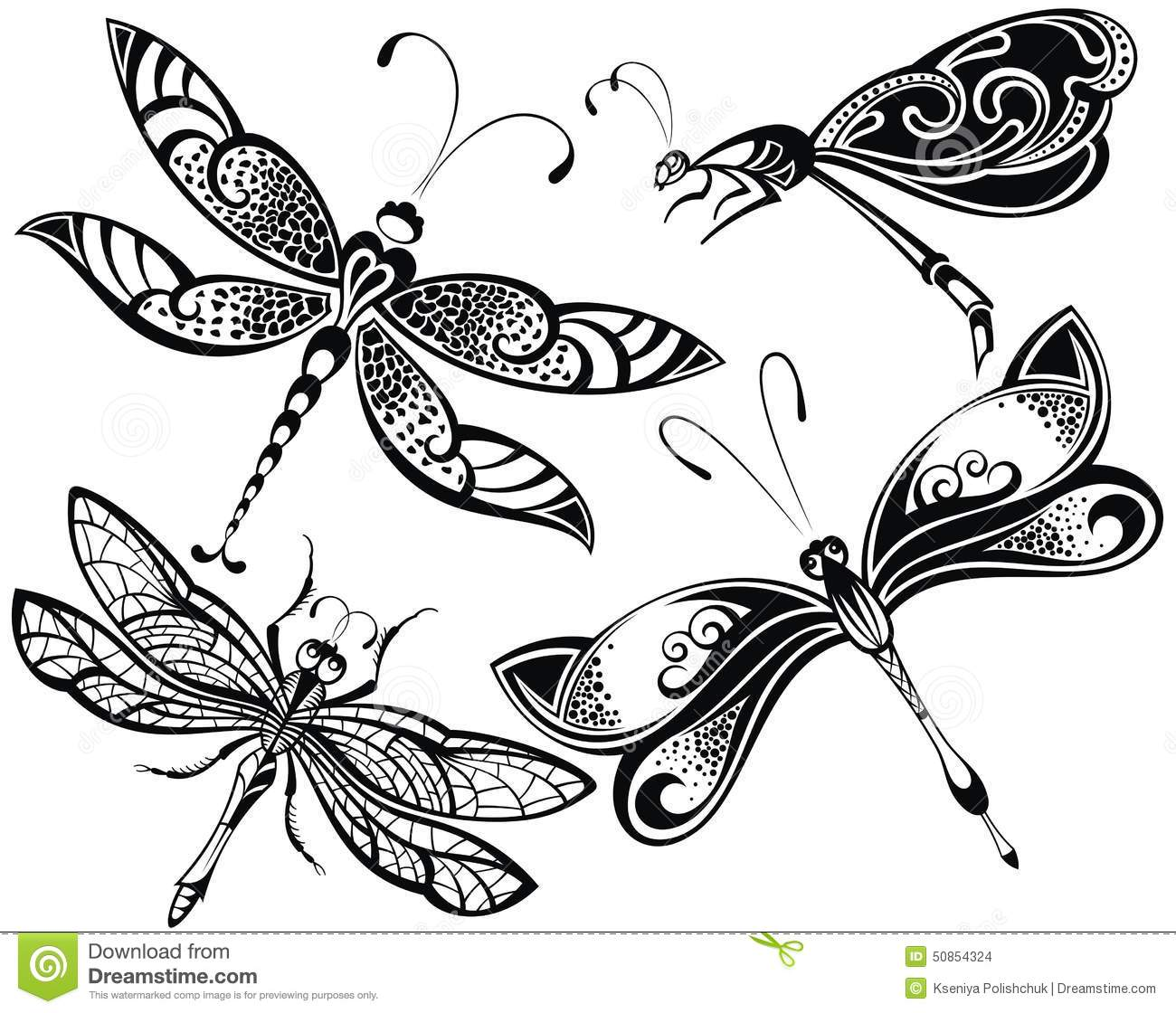 drawings of butterflies and dragonflies