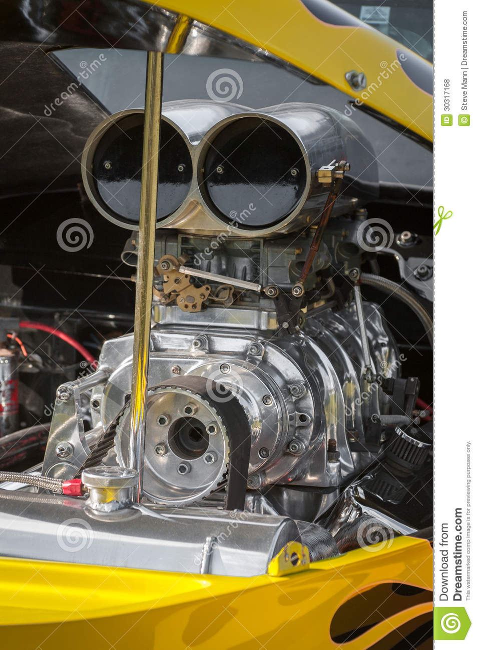 Car Engine Blower : Dragster engine stock photo image of blower chromed