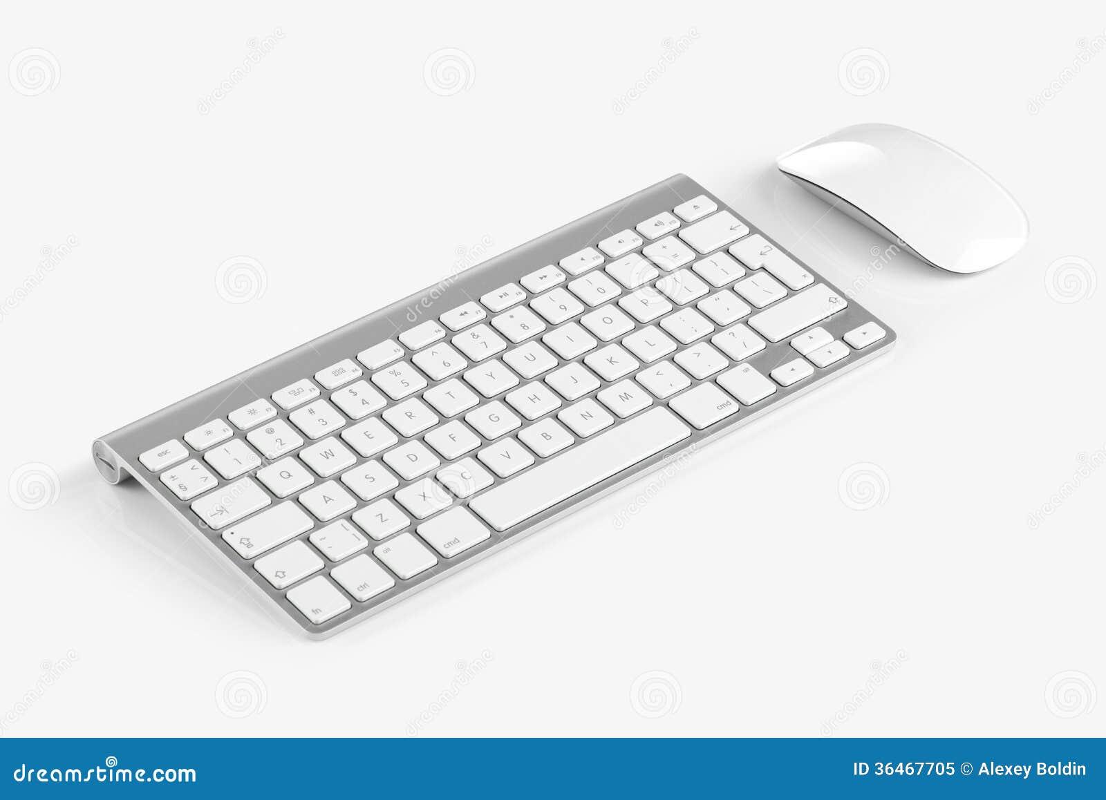 Drahtlose Computertastatur und -maus lokalisiert auf weißem backgroun