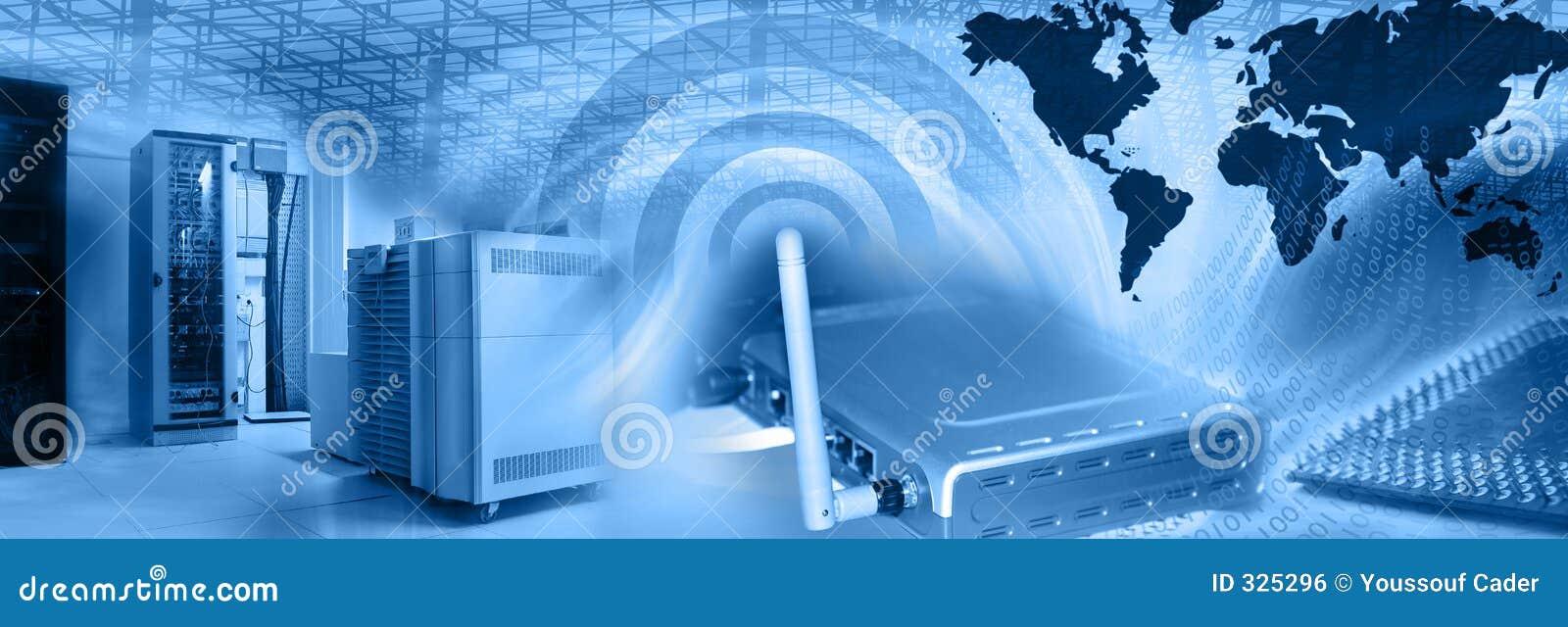 Drahtlose Web-Bewirtung Montage-Blau