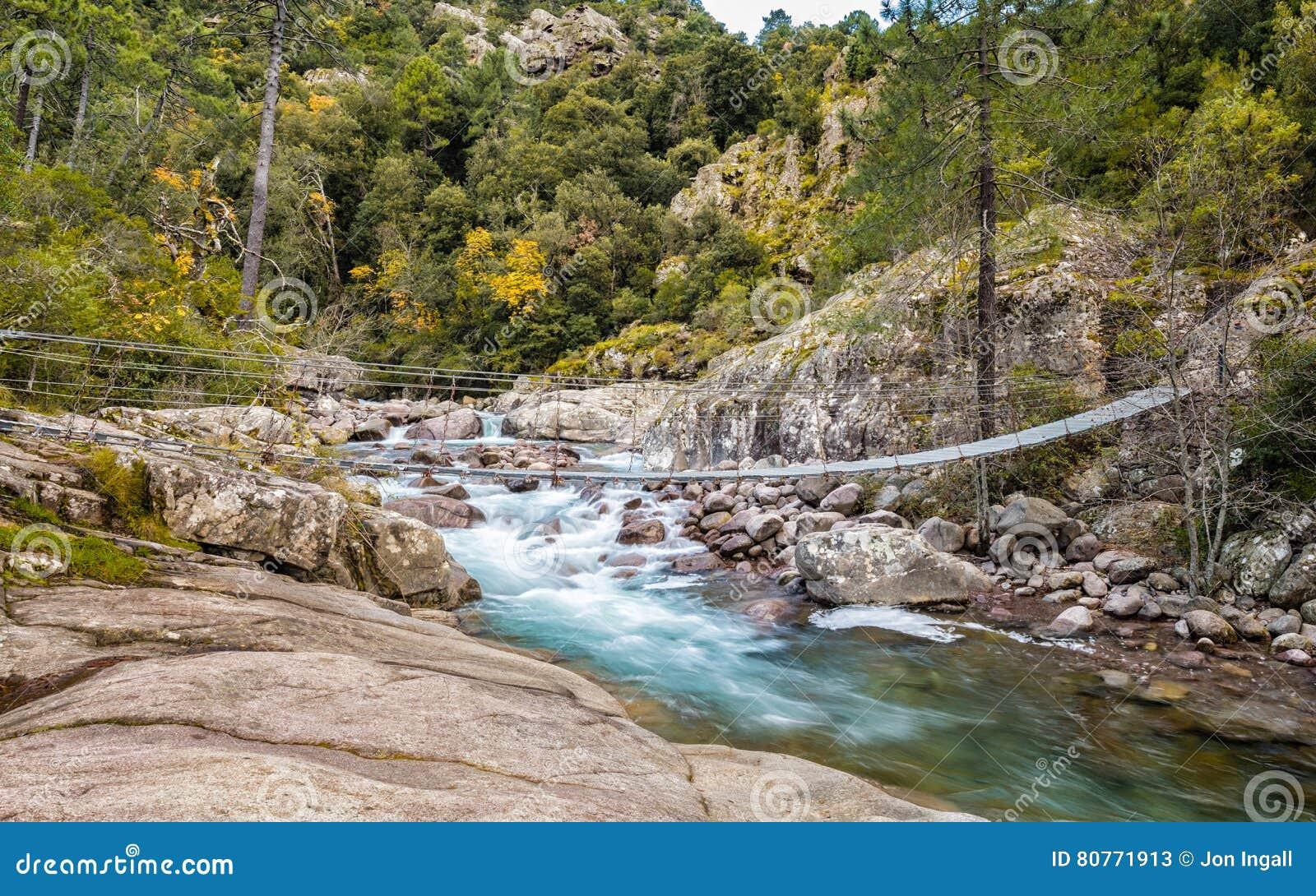 Drahtseilbrücke über La Figarella Bei Bonifatu In Korsika Stockbild ...