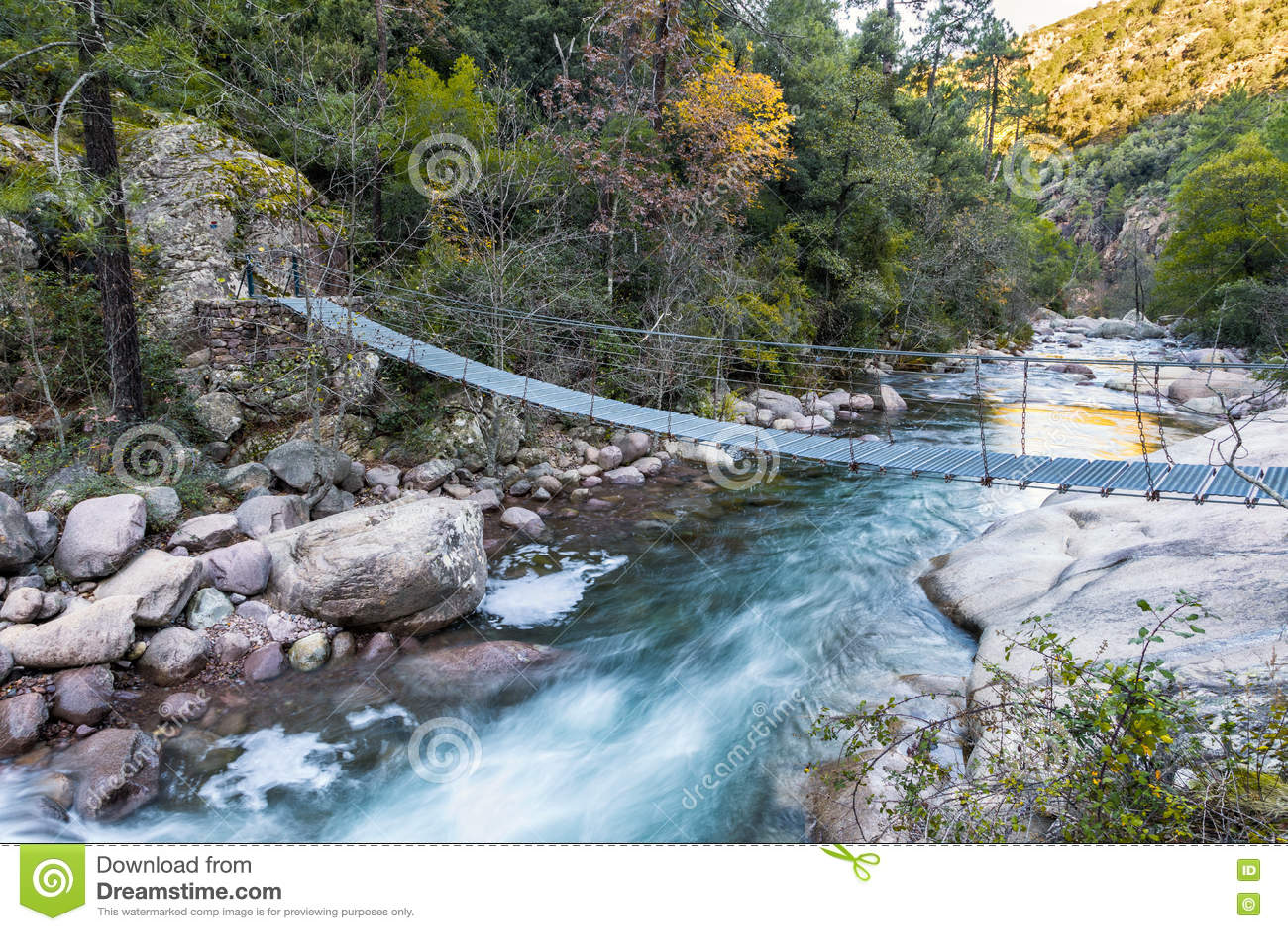 Drahtseilbrücke über La Figarella Bei Bonifatu In Korsika Stockfoto ...