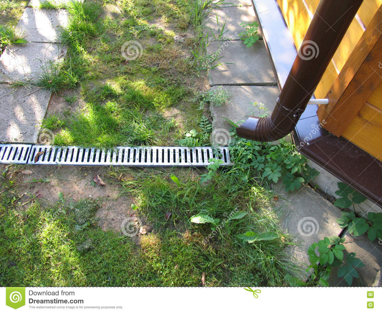 Drain grate in the garden stock image. Image of design ... on decking garden design, art garden design, rainwater garden design, patio garden design, driveway garden design, concrete garden design, water garden design, roof garden design,