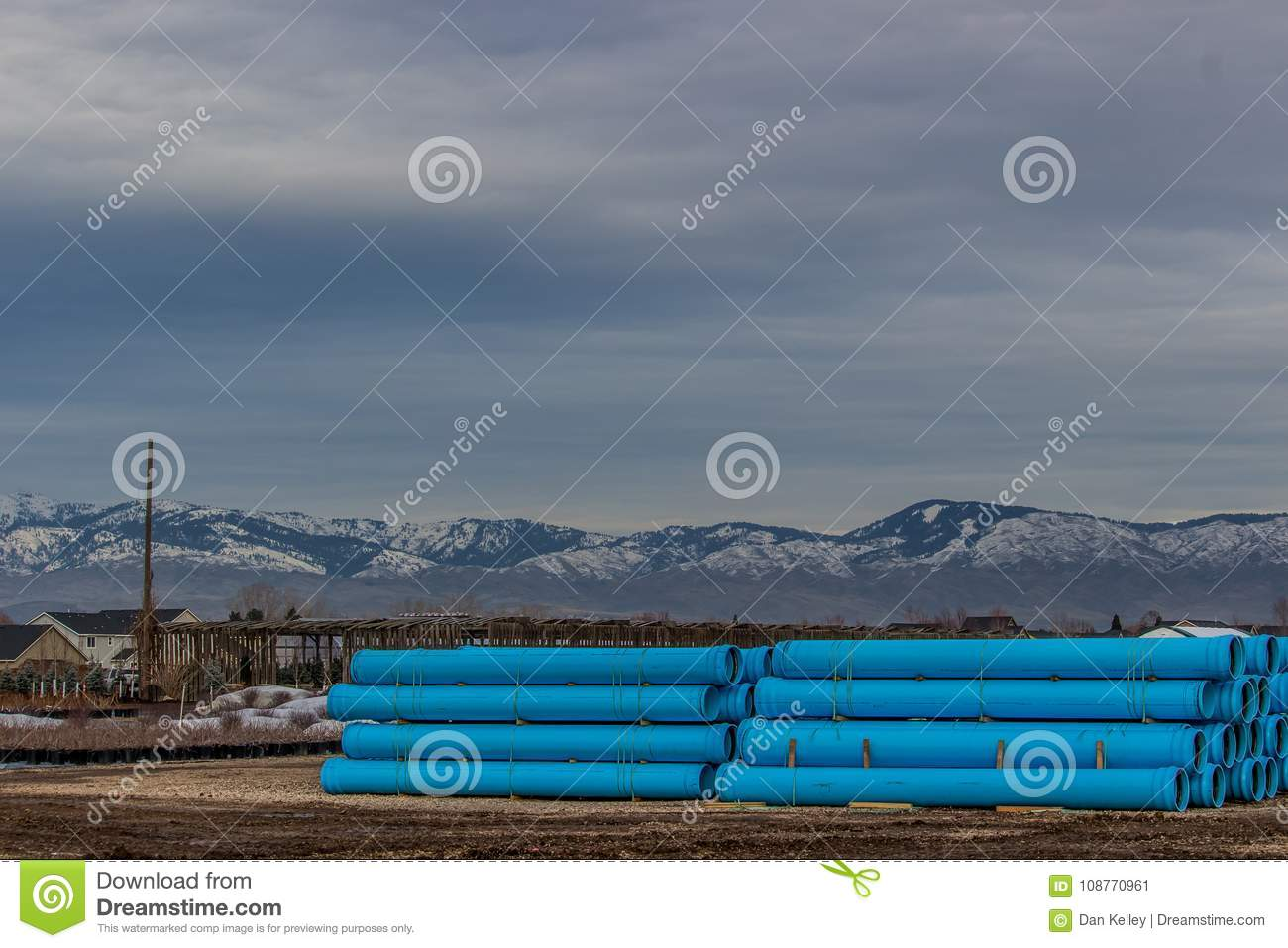 Drain pipe staged for winter road construction in Boise Idaho