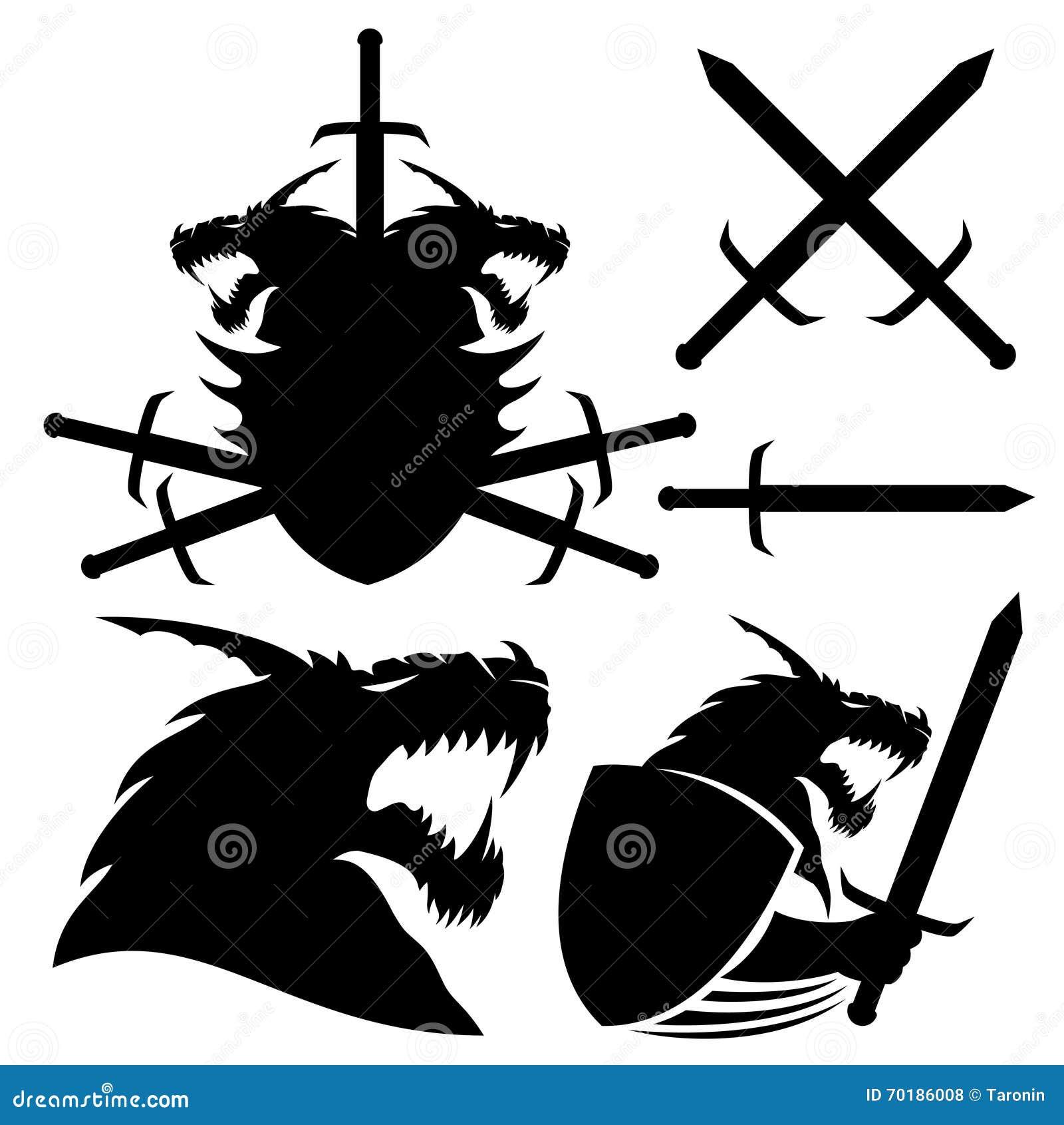 Drake, sköld och svärd