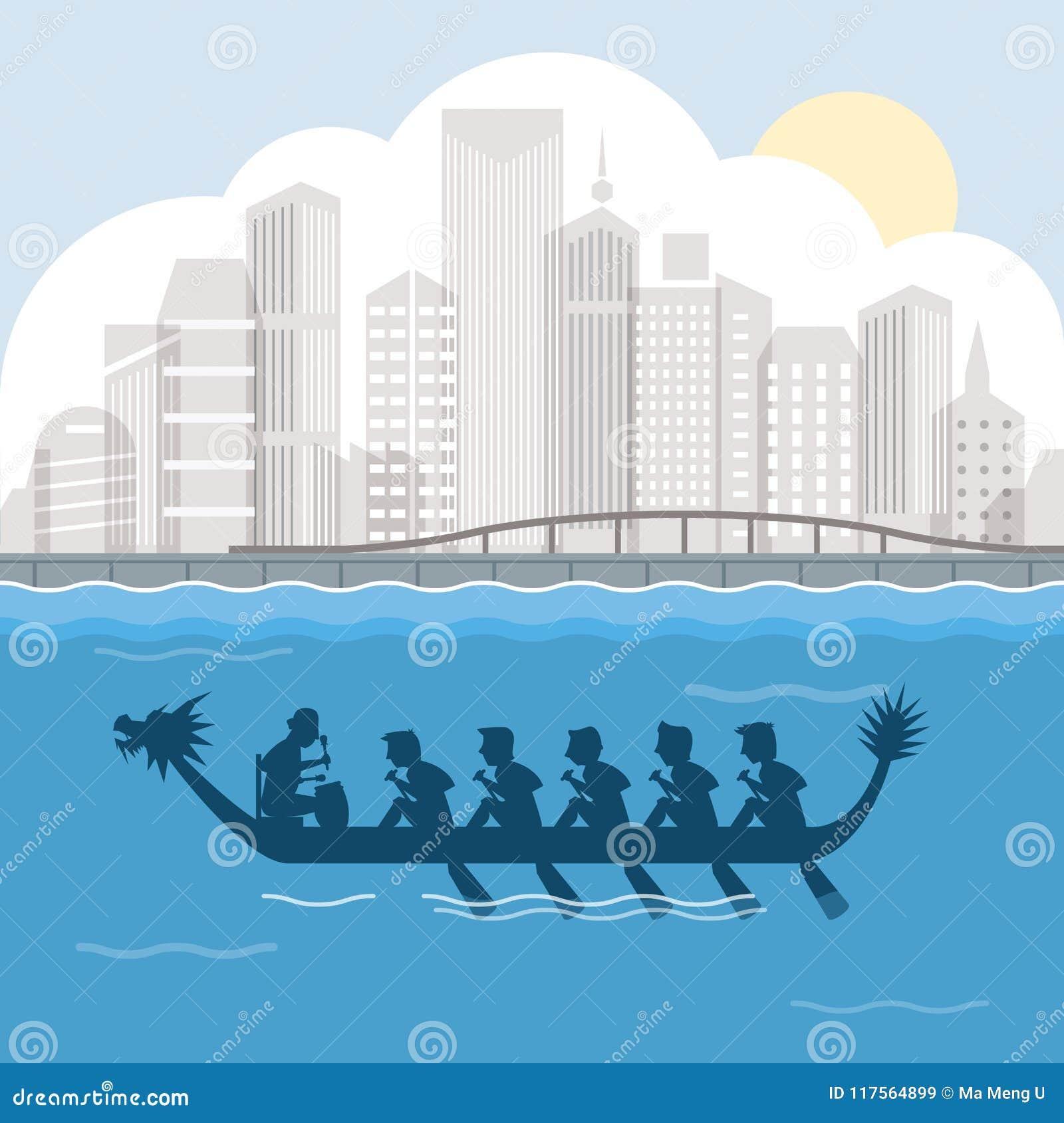 Drakefartyg bak illustration för vektor för hamnstadsplats