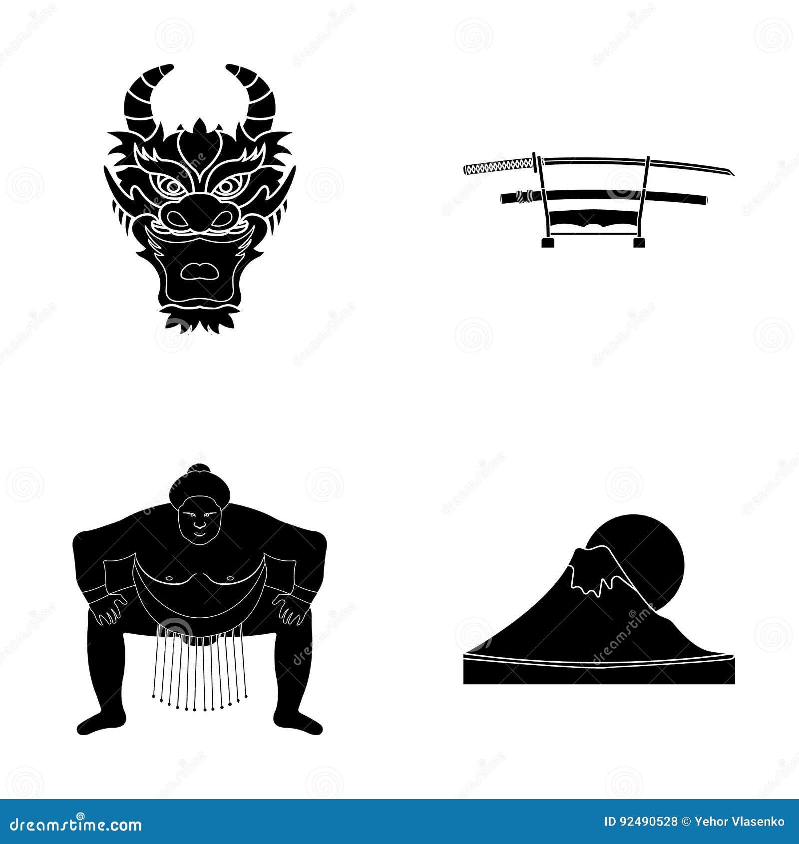 Drakemaskeringen, katano, en man är en sumospelare, ett fujiamaberg Japan ställde in samlingssymboler i svart stilvektorsymbol